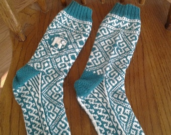 Knitted Indian styled Elephant socks in Moss and White