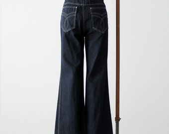 FREE SHIP  vintage YES wide leg denim, dark wash jeans, 30 x 35