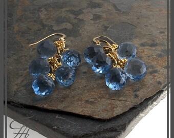 Swiss Blue Earrings, Gold Sky Blue Earrings, Blue Quartz Earrings, Dangle Earrings, Gold Earrings, Cascade Earrings, Handmade Earrings