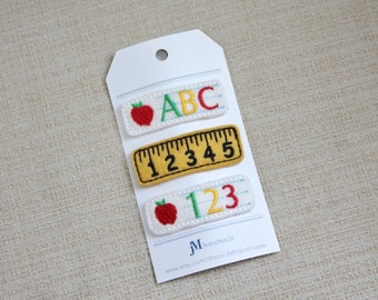 Back to school apple and ruler 3 piece 100% Wool Felt clip set