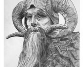 John Cleese as Tim the Enchanter in Monty Python and the Holy Grail 8.5 X 5.5 card stock print of a pencil drawing.