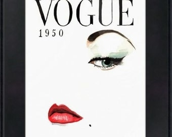 Vintage Vogue Magazine Cover. Print and Black Mat. Frame Ready. 8x10 or 11x14