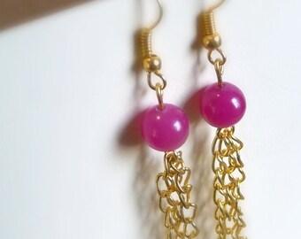 Long, Dangle, Pink Glass And Gold-Tone Chain Tassel Earrings, Pink Jewelry, Chain Jewelry, Tassel Jewelry, Long Earrings, Light Earrings