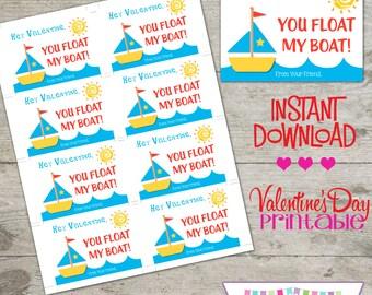 Valentine Boat - Printable Valentine's Day Cards - INSTANT DOWNLOAD