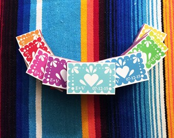 Papel picado wedding favors match box magnets, 50
