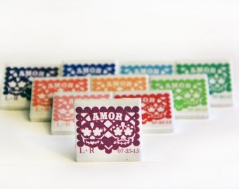 Papel picado wedding favors Day of the Dead, 50 magnets