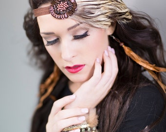 Bronze Gatsby Headband, Roaring 20s Hair Piece, Flapper Headband, Downton Abbey, Feather Headband, Headdress