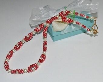 Coral & White Pearl Loop Beaded Handmade Ladies Necklace/Pearl Necklace/Beaded Necklace/Coral Necklace/Multi Strand Necklace/Glam Necklace