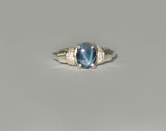 Natural Blue Star Sapphire, White Topaz In Sterling Silver Ring, 1.5ct. Size 7