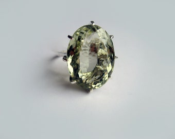 Rock Size Prasiolite Green Quartz In Sterling Silver Cocktail Ring 24.55ct. Size 6.75