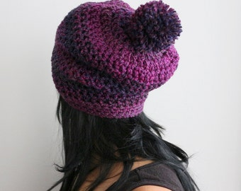 Radiant Orchid Blend Pom Pom Slouchy Ski Beanie Hat, Orchid Purple Slouchy Beanie Hat, Winter Fashion Accessories