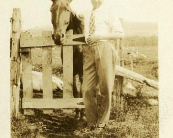 "Vintage Photo ""Chat With a Friend"" Farm Horse Pet Snapshot Old Antique Black & White Photograph Found Photo Paper Ephemera Vernacular - 46"