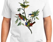 Painted Finch Bird Retro Men & Ladies T-shirt - Gift for Bird Lovers and Ornithologist (idc053)