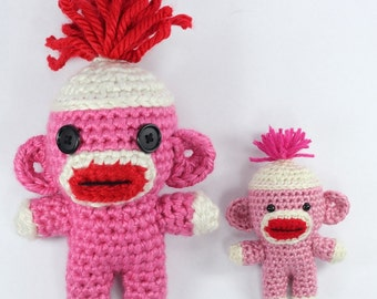 PATTERN: Sock Monkey Cutie Crochet Amigurumi Doll