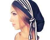 Navy Blue Head Scarf Tichel Hair Snood Head Wrap Soft Comfy Cotton Chemo Hat Cap Pre Tied Bandana Black Taupe Stripes Versatile ShariRose