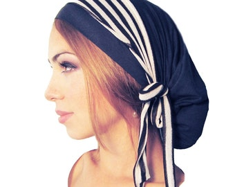 Navy Blue Head Scarf Head Cover Black White Stripes Tichel Hair Snood Head Wrap Soft Comfy Cotton Chemo Hat Cap Pre Tied Bandana ShariRose