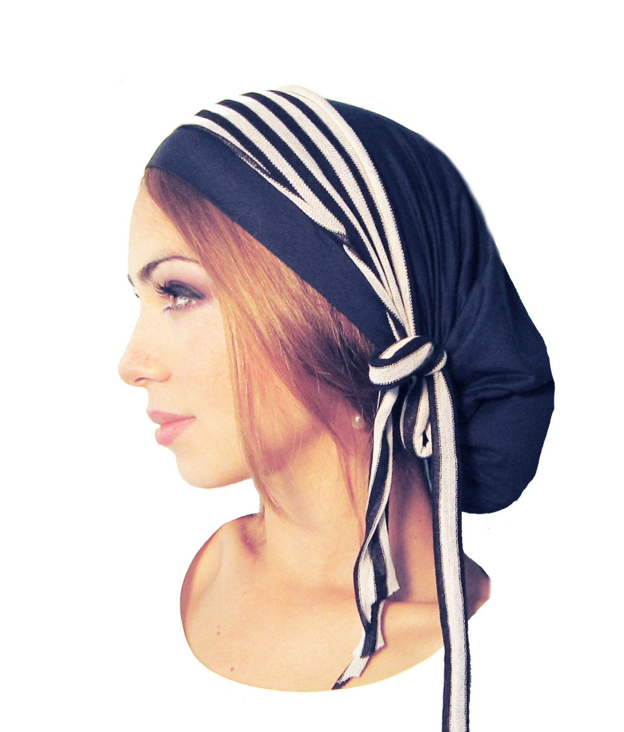 navy blue head scarf head cover black white stripes tichel. Black Bedroom Furniture Sets. Home Design Ideas