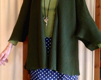 CUSTOM Jacket Cardigan Drapey Green Wool Gauze, Pop over any outfit