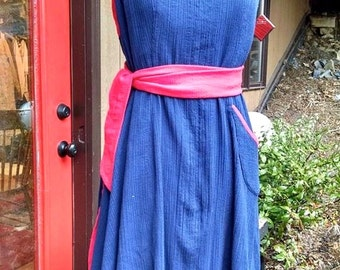 CUSTOM Apron Dress of navy blue cotton gauze with accents in RED, halter dress, wrap around dress