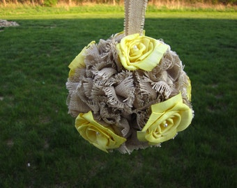 Burlap and yellow sola roses flower kissing ball