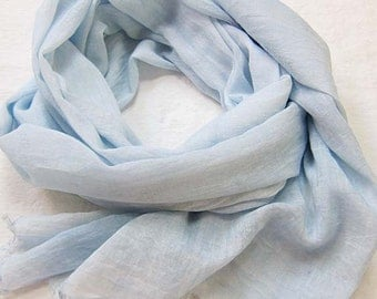Blue Cotton Scarf, Hand Painted Scarf, Hand Dyed Scarf, Blue Scarf, Summer Scarf, Beach Scarf Lightweight Scarf, Ships from USA, Dusty Blue