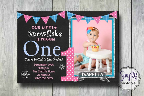 Girls Birthday Invitation, Snowflake Invite, Our Little Snowflake, Printable Digital File