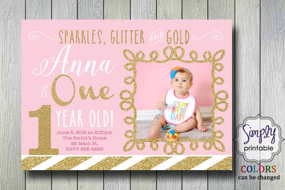 Pink Gold 1st Birthday Invitation