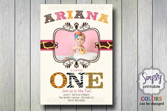 Girls Safari 1st Birthday Invite