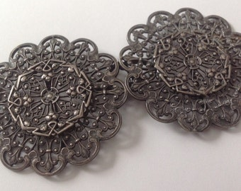 Sterling silver art nouveau belt buckle    VJSE