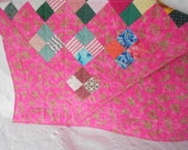 Lap Quilt or Baby Crib Quilt - Quilted Lap Blanket - Pink Squares Quilt - Ready to Ship