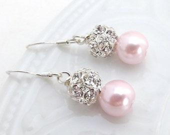 Light Pink Pearl Bridal Earrings w/ Swarovski Rhinestones, Pearl Drop Bridal Wedding Earrings, Pink Pearl Earrings