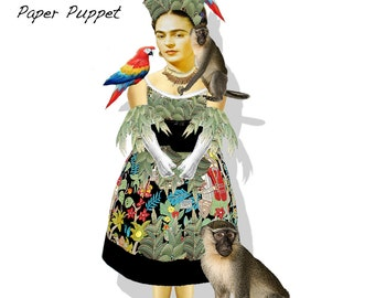 Frida Kahlo Puppet paper doll collage sheet DIY puppet kit