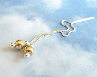Ear Threads-Gold on Silver-Sterling Threader Earrings-Minimal Earrings