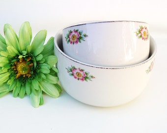 Vintage Hall China, Nesting Bowls, Pottery Mixing Bowls, Rose White Serving Bowls, Set of 2