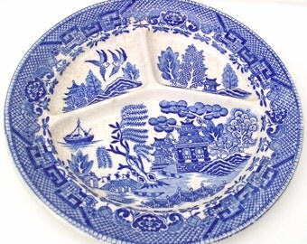 Vintage Grill Plate Blue Willow Divided Dish Occupied Japan Moriyama Tray