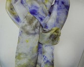 Hand Dyed Silk Scarf with matching Scrunchie Hand painted Scarf -  soft colors chartreuse, green purple Habotai Silk Batik women's fashion