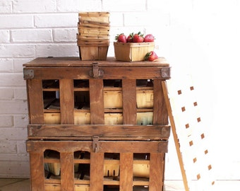 Vintage Wood Strawberry Crates - Farmer's Market - Rustic Farmhouse Decor