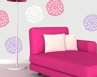 Dahlia Flower Blooms Vinyl Wall Decals (Multiple sizes and colors available)
