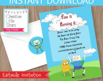 Adventure Time Invitation DIY Printable Kit - INSTANT DOWNLOAD - Adventure Time Party Inspired