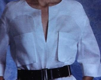 Vogue Easy Option Guy LAROCHE Paris Original 2014 V Neck Tunic Style Dress Back Slit Size 16 18 20 22 24 Pullover Dress Pockets V Neck Uncut