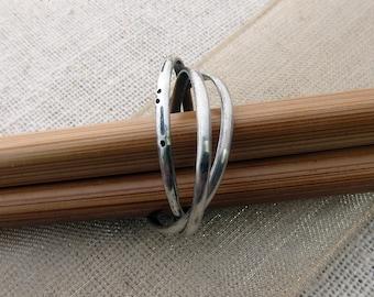 Morse Code: Love Ring. Set of Three Interlocking Rings.