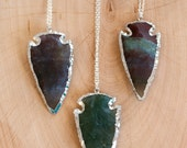 Agate Arrowhead Necklace -  Silver Arrowhead Necklace - Layering Necklace - Bohemian Necklace - Boho Hippie Chic Necklace - Stone