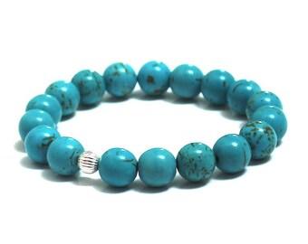 Trendy Totally Turquoise Magnesite Birthstone Chakra Mala Beads Bracelet Trendy Summer Festival Fashion Boho Bracelet Anniversary