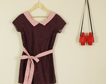SALE Mauve Pink Jump suit / Romper With Collar and Bow E