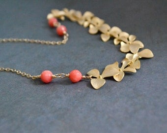 Gold Orchid Necklace, Peach-Pink Coral, 14K Gold Filled Chain, Wedding Jewelry