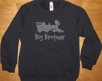 Big Brother Train Engine Sweatshirt - Big Brother - Long Sleeved Shirt Navy Blue - Fleece 2T, 4T, 6, 8, 10, 12  - Gift Friendly
