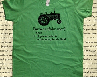 Farming Shirt - Boys Shirt / Girls Shirt - Definition of a Farmer - Tractor - Kids Tshirt Colors - 2T, 4T, 6, 8, 10, 12 - Gift Friendly