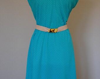 vintage 70s 80s polka dot turqoiuse sheer dress. polyester in junior size 15.