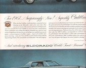 1967 CADILLAC ELDORADO Vintage Advertisement Blue and White Luxury Cars Classic Car Ad Auto Shop Mancave Decor