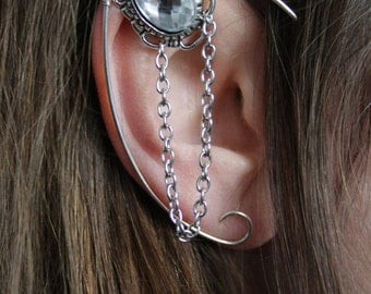 silvered elven ear  - ear cuff - elvish earring - elf ear - CLEAR